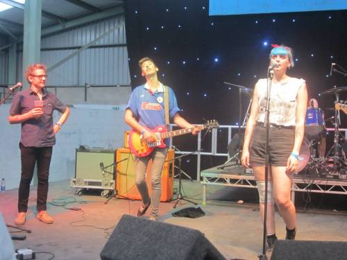 Dean Wareham joining Joanna Gruesome on stage for their cover of 'Tugboat' at Indietracks 2014, Saturday 26th July  Picture robdogged from the immaculate Dave Forbes