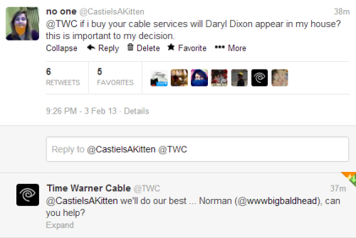 companyofdwarves:  so i was on twitter asking about the time warner cable walking dead commercial right time warner cable is serious about gaining customers