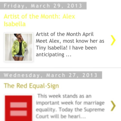 mytinyisabella:  I'm the artist of month on VogueBinge.com. Go read! Thank you @DearAshleyThatsMe for the interview.