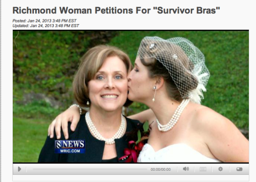 Check out the interview with Allana about her Survivor Bra campaign, from WRIC.