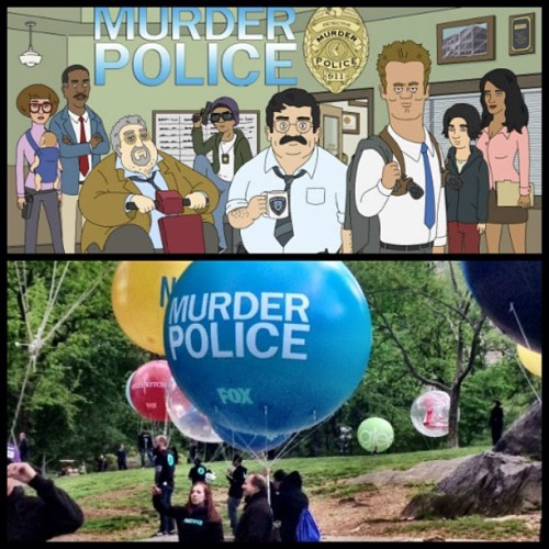 Today at Fox's upfronts they released the first official Murder Police cast photo and… a weather balloon for some reason?