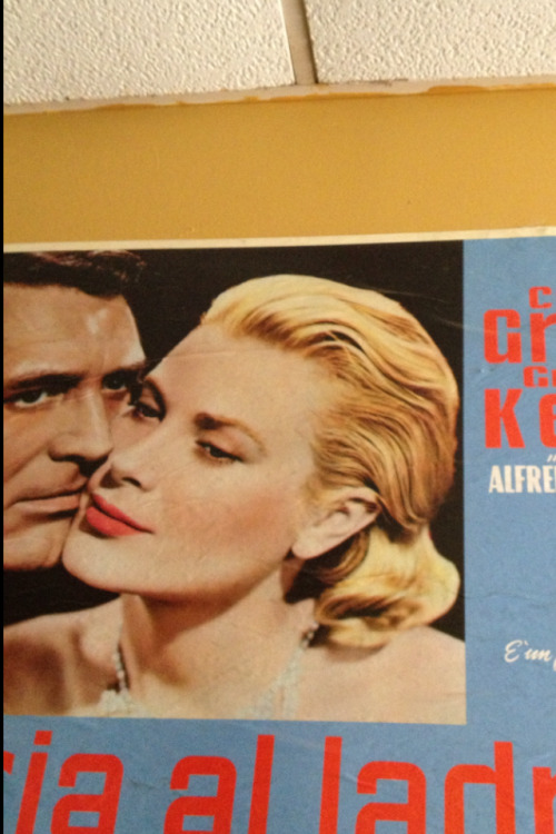 (detail) Cary Grant and Grace Kelly, To Catch A Thief poster, Sophia's Grotto restaurant,  (mine)