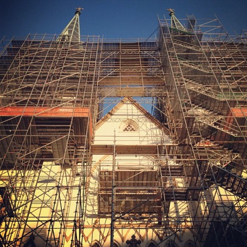 St. John the Baptist cathedral is getting a face lift. #savannah #georgia #cathedral #church #work #cross #stpats