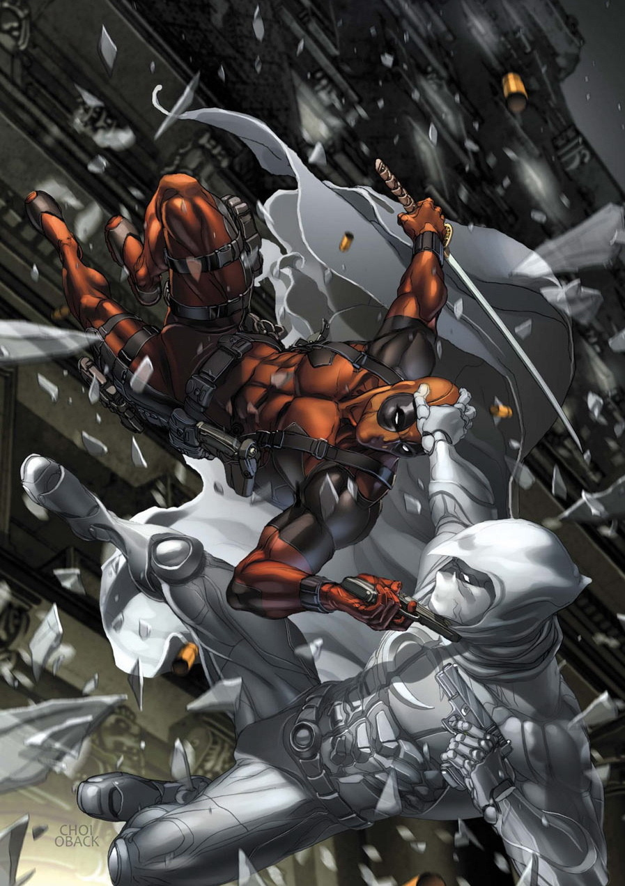 super-nerd:  Deadpool vs. Moon Knight by Mike Choi