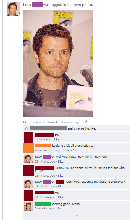 sherlockey-werlockey-stuff:  sherlockey-werlockey-stuff:  My poor Misha-less friend is so confused  … Am I a bad person?  I might have lapsed in my tumblogging again, I might have only turned on the computer for the first time in days this evening and so missed the bandwagon on turning my blog into the full misha deal. But by god if I didn't have enough time to spread the Mishapocalypse that inch further on facebook, and by god it has been glorious. So, no, you are not a bad person. You are, in fact, Misha. As am I.