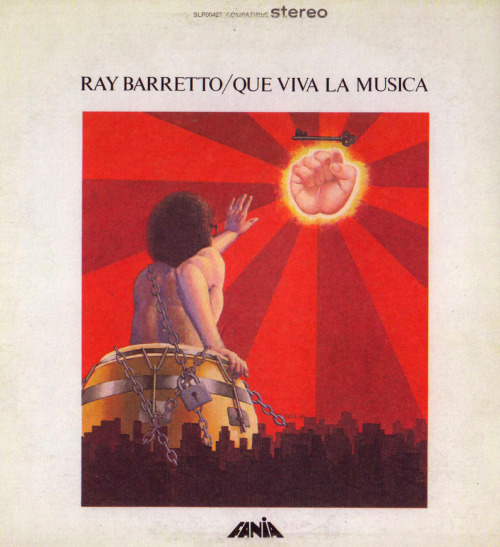 The cover of percussionist Ray Barretto's album Que Viva la Música (1972) exemplifies the intimate relationship between salsa music and the urban imagination. Barretto's tumbadora appears as a part of his body, and is literally chained to the buildings and streets of Manhattan. This is meant to show that salsa as a musical genre is inseparable from the urban experience of expanding cities like New York, one of the genre's many 'birthplaces.' A course I am co-teaching this spring with ethnomusicologist Sydney Hutchinson (http://buscando-america-salsa.blogspot.com/) explores this expansive context.