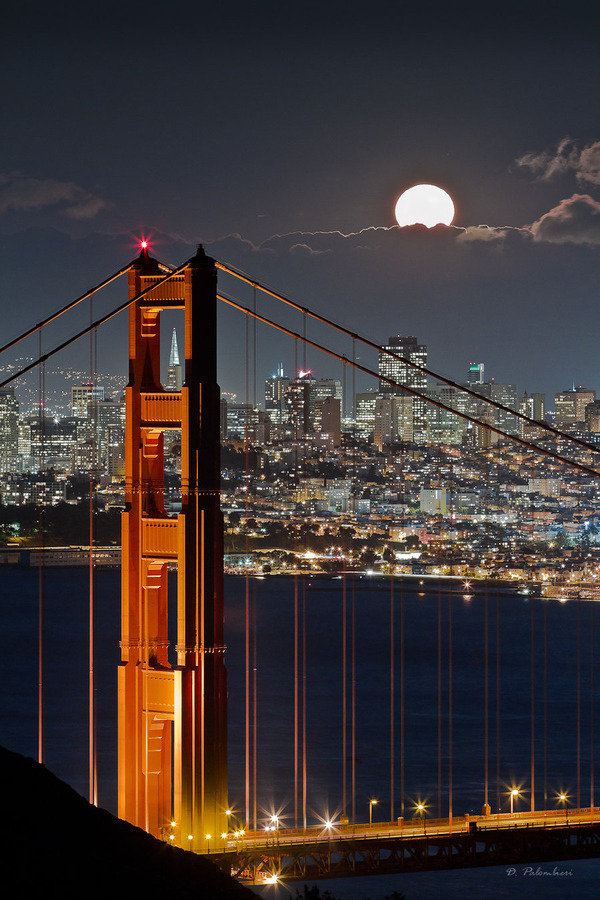 "ethereo:   500px / Photo ""Golden Gate Bridge - Fullmoon - San Francisco - CA"" by Dominique Palombieri"