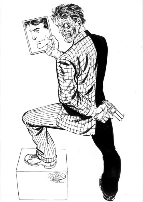 johnbyrnedraws:  Two-Face commission by John Byrne. 2013. John also had this to say about Two-Face.  Don't know if I have mentioned recently that Twoface is actually my favorite Batman villain. Something about his personal tragedy (minus the absurd psychobabble and coincidences shoveled in by later, cliché obsessed writers) touched a chord in my young brain. Didn't hurt that the first Twoface story I read (actually a reprint, tho I did not know that at the time) was drawn by Dick Sprang!