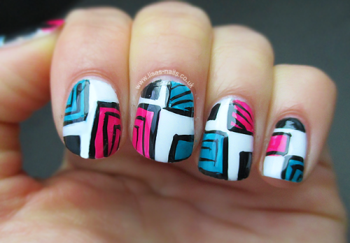 Color block nail art.   Thank you for this tutorial inspiration http://www.youtube.com/watch?v=hUS2fxR8RuY getnail-d.   More pictures @ http://lisas-nailss.blogspot.co.uk/2013/04/colour-block-nail-art.html