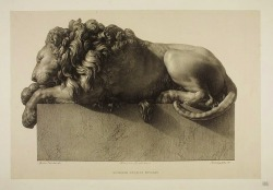 hadrian6:  Sleeping lion. 1830. from monument to Clement XIII. Antonio Canova. engraving by Paolo Guglielmi. Italian. 1804-1862. http://hadrian6.tumblr.com