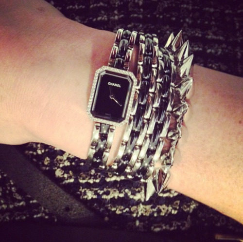 glamour:  loving this Chanel Premier double strap watch stacked with Eddie Borgo spikes -via @mduenasjacobs instagram