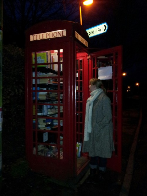 Phone box library just outside Cambridge city.