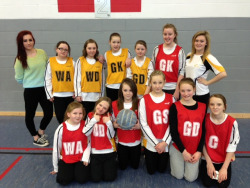 Year 7 Netball and 6th form coaches after a 9-2 victory against Gwynllyw.  Da iawn girls!!