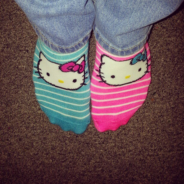 Because I have the coolest socks ever :) #socks #socksoftheday #todayssocks #hellokitty #pink #blue #stripes #mysocks #myfeet #feet #sox #mismatchedsocks #mismatchsocks #mismatch #mixnmatch #hellokittysocks