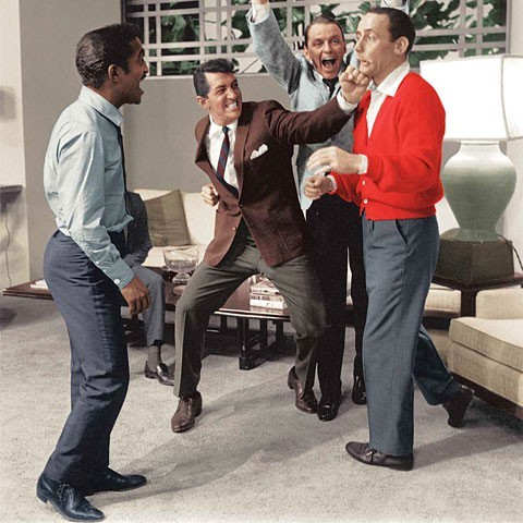 Four Rat Pack members, Sammy Davis, Dean Martin, Frank Sinatra and Joey Bishop on set of Oceans 11, 1960