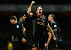Jordan Henderson celebrating his goal v Arsenal