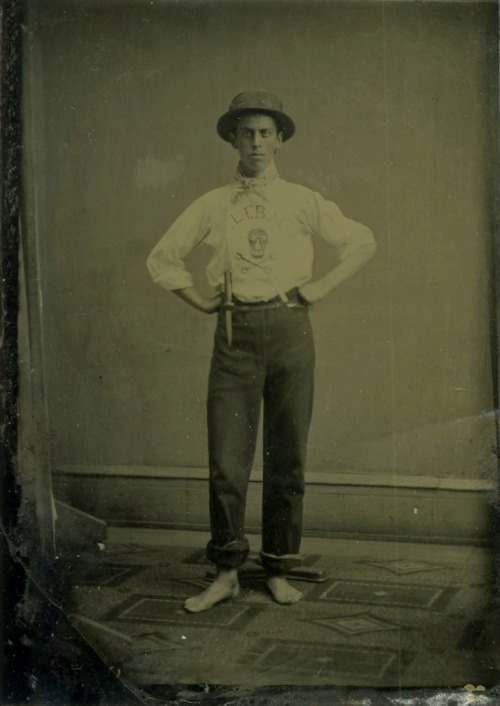 "ca. 1870-1900's, [tintype portrait of a ""bonesman"", or member of the Skull & Bones Society at Yale University] via Jeffrey Kraus Antique Photographics"
