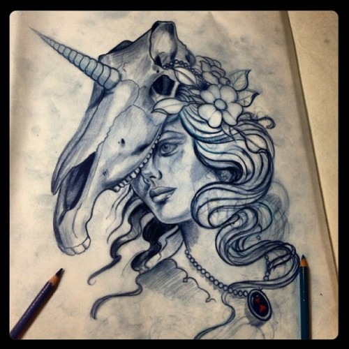 #Awesome #tattoo design #sketch for a client by @dawidgaura at #thecirclelondon #unicorn  #skull  (at The Circle Tattoo)