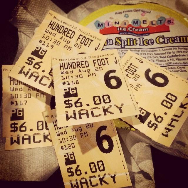 $6.00 movies, why thanks you … #shareAMC #100FootJourney #douglaston #movieWorld #littleNeck #longIsland #nyc #instafeed #movieNight #summer2K14 #familyFun #humpday #latergram  (at Movieworld Douglaston)