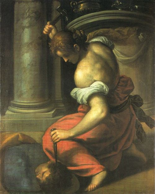 Palma the Younger - Yael Killing Sisera She stretched forth her hand to the nail, her right hand to the workman's hammer, and she smote Sisera; she crushed his head, she crashed through and transfixed his temples.Judges 5:23-27