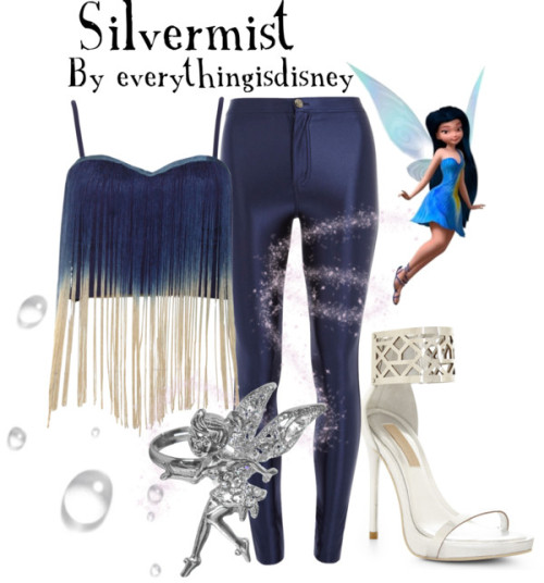 Silvermist by everythingisdisney featuring charm jewelry  Rare London fringe shirt, $46 / Dorothy Perkins disco pants / BCBG Max Azria strappy high heels / Jon Richard charm jewelry, $6.19