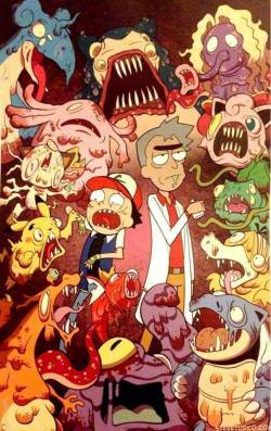 pokemon Rick and Morty wish I knew who did this! if you do please ad the artists name