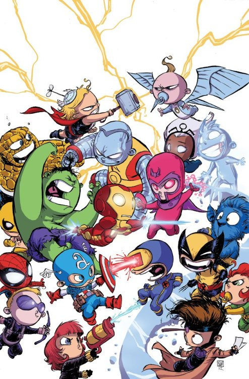 The Avengers Battle The X-Men By Skottie Young