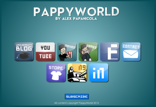 "PappyWorld I just updated my personal website PappyWorld.com to include a link to my university blog (here) so that fans can keep up to date with my uni work. I also added a button for ""LinkedIn"" as another contact option for animation work / clients or alternatively an 'online CV' of sorts. Listing my skills and such."
