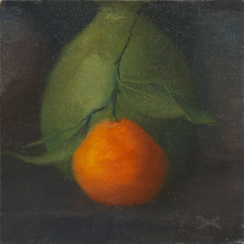 Satsumas Orange, oil on canvas board, 6 x 6 inches, 2012 SOLD