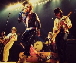 The Rolling Stones performing live in 1973
