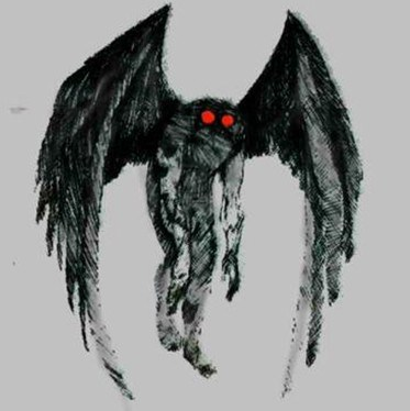 "missmurrka:  taco-human:  The Mothman is a legendary creature first reportedly seen in the Point Pleasant area of West Virginia from 15 November 1966 to 15 December 1967. The first newspaper report was published in the Point Pleasant Register dated 16 November 1966, entitled ""Couples See Man-Sized Bird…Creature…Something"". There were no Mothman reports in the immediate aftermath of the December 15, 1967 collapse of the Silver Bridge and the death of 46 people, giving rise to legends that the Mothman sightings and the bridge collapse were connected.  Have I ever told you guys that I have a thing for cryptids? I think mothman is a pretty co guy, eh warns yuo about disasters and doesn't afraid of anything"