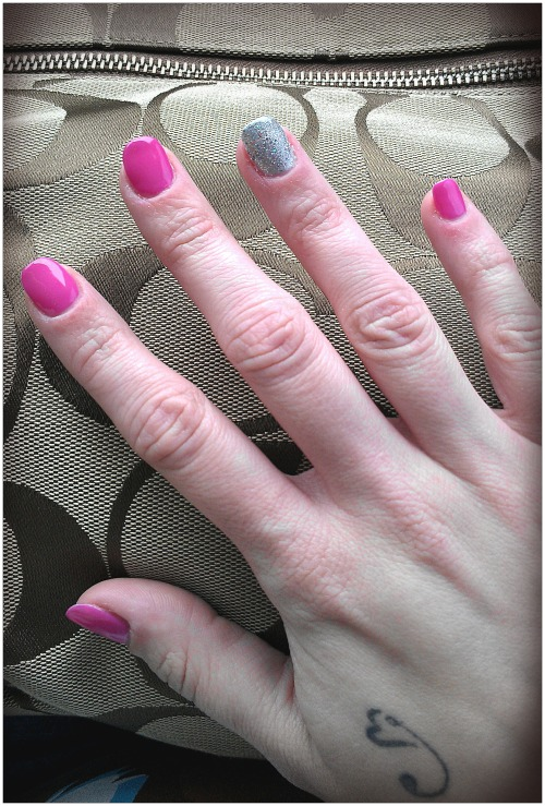 "Had my nails done yesterday! Got talked into the ""shellac"" manicure, which is a UV gel that lasts a couple weeks by the soft-spoken Vietnamese girl. I misunderstood and thought she said it was $8 more than the standard manicure, but what she said was $28. Not really the same thing. They came out really pretty though! Unfortunately, I have exactly zero pictures of me or Josh, but I think the bride had her photographer take at least a couple."