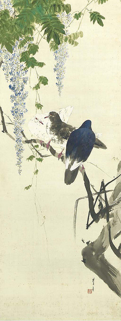wapiti3:  WATANABE Seitei - Toka gunkyu no zu (Wisteria and group of pigeons) on Flickr.