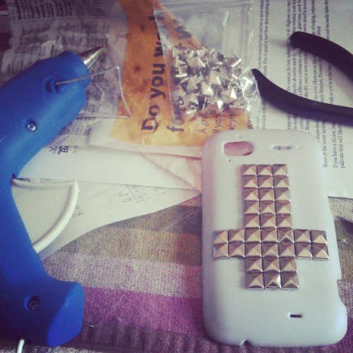 Blood sweat and tears. Studded my phone case. #crafts #gluegunnin'