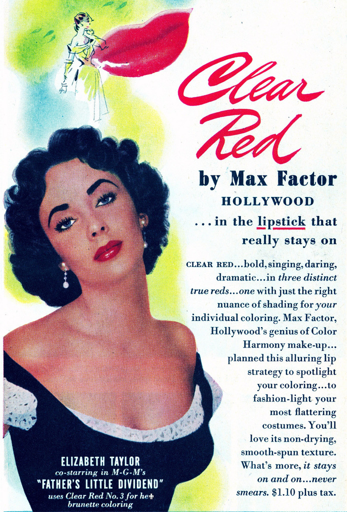 theniftyfifties:  Elizabeth Taylor for Max Factor lipstick, 1951.