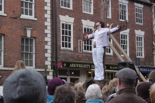 Bewdley, Worcestershire, UK. Good Friday. The Passion Play. The moment the crowd fell silent.