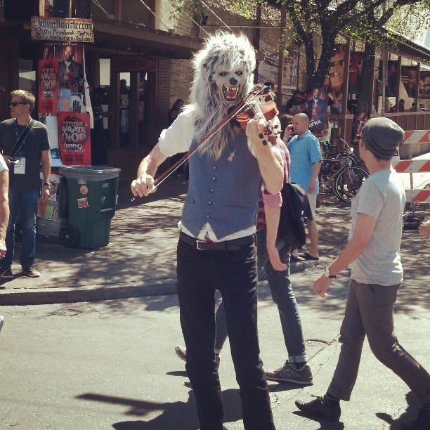 Ever see a #werewolf dude play a #violin before? #sxsw #austin #6thst