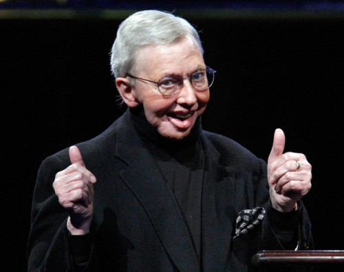 fishingboatproceeds:  Roger Ebert has died. He was a movie critic, an advocate for disability rights, a recovering alcoholic, TV personality, producer, memoirist, novelist, and a regular contributor to the New Yorker's cartoon caption contest. He watched and read and wrote extremely broadly—most famously about movies but also about books and politics and religious life in America.  To some, he was known primarily for his comments that video games aren't art. Ebert was wrong about that, as he was wrong about plenty of other things, too. But his was a broadly lived life of public intellectual engagement, something that we don't see very often anymore, and something worth celebrating.