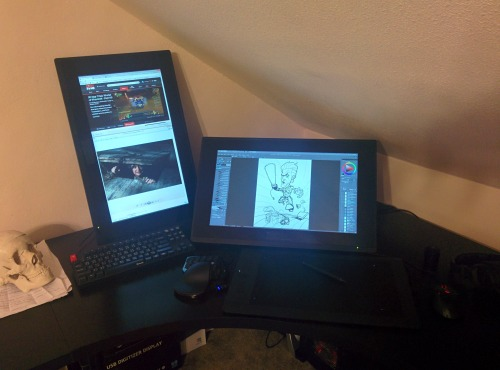 My go-to drawing setup is probably not what you'd expect.  Maybe it's because I cut my digital art teeth on them, or maybe I'm feeling nostalgic, but I find myself gravitating to my workstation that has a BFT (big fucking tablet) lately.  It's hard to argue with the simple, straightforward nature of an Intuos Pro Large.