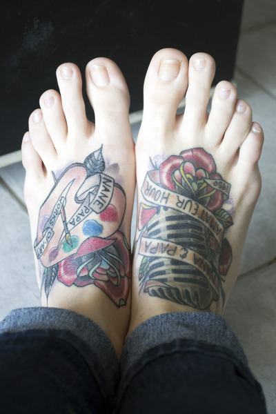 Feet tattoos done at TopNotch Tattoos in Elgin, IL by Nate Bjork. Great people, even greater artists. http://jennaszerszen.tumblr.com/