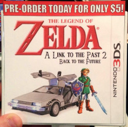 tinycartridge:  Where we're going, we don't need official boxart Because something like this works just fine. Don't forget that preorders are now open at Amazon for the 3DS sequel to The Legend of Zelda: A Link to the Past! And don't forget about these still active deals either: Fire Emblem: Awakening - $34.95 (backordered, sidebar link) Super Mario 3D Land - $29.99 The Legend of Zelda: Ocarina of Time 3D - $29.99 (backordered, sidebar link) Mario Kart 7 - $29.99 Castlevania: Lords of Shadow - Mirror of Fate - $24.99 (backordered, sidebar link) Kid Icarus: Uprising is also $31.99, which is a decent deal for a great game. Don't forget that it comes with a banana stand. BUY Nintendo 3DS and 3DS XL consoles, upcoming releases