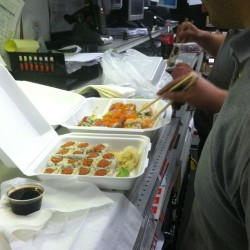 Sushi at work! @mr_two where you at hahah