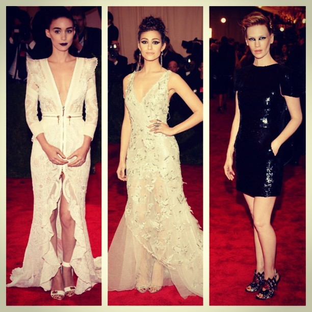 Rooney Mara, Emmy Rossum and January Jones at last night's #MetGala #BestDressed #Punk