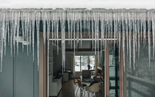 peterbaker:   Some serious icicles at the studio this morning.  Our place is one big ice cube today!