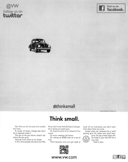 How classic ads might look today by Eoin Conlon -DDB/Volkwagen 'Think Small' 1959