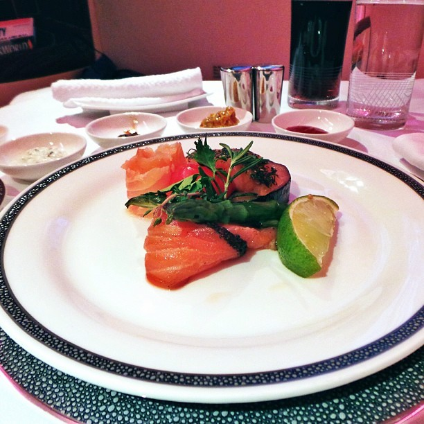 #Starters on the #flight - #raw #salmon #fish - #travel #food
