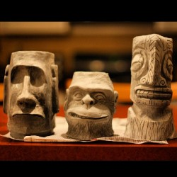 zerostreet:  My #Tiki #mugs drying out. #ceramics #art #kustom #lowbrow #chimps #moai