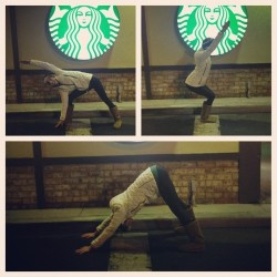No more slacking. #yogaaday #decemberyogachallenge #yoga #starbucks #picstitch @growsoulbeautiful