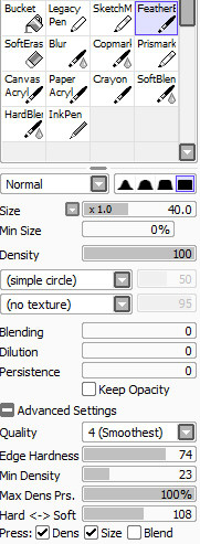 The settings for my inking brush in Sai, because people have been asking.
