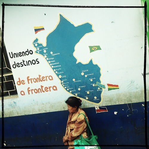 La Frontera - The Border (a stop over)  #border #frontera #peru #woman #old #granny #waiting #map #travel #travelers #borders #borderland #bus #destination